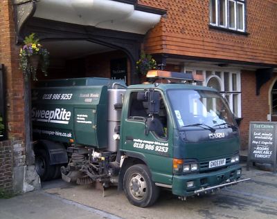 Sweeper Hire in Reading - Look great when customers call with either a one-off sweep or regular maintenance from SWEEPRITE sweeper hire. Vehicle is a Scarab Monic Sweeper.